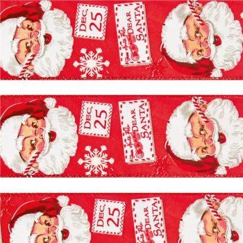 Dear Santa Wired Edge Christmas Ribbon