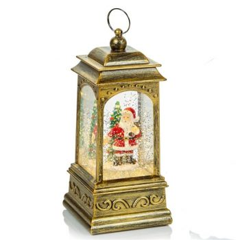 Christmas Glitter Gold Santa Water Spinner LED Lantern