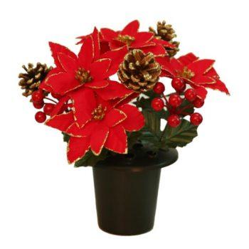 Artificial Red & Gold Glittered Poinsettia Memorial Pot