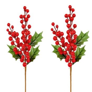Set of 2 Artificial Red Berry Picks with Green Holly