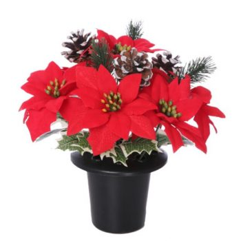 Red Poinsettia and Snow Cone Christmas Memorial Vase.jpg