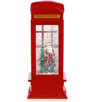 Christmas Glitter Santa Water Spinner Telephone Box