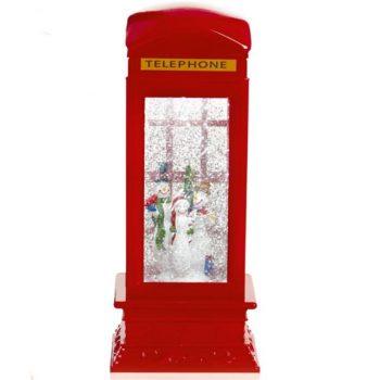 Christmas Glitter Snowmen Water Spinner Telephone Box
