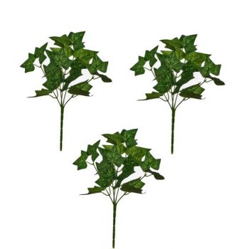 Pack of Three Artificial Green Ivy Bushes